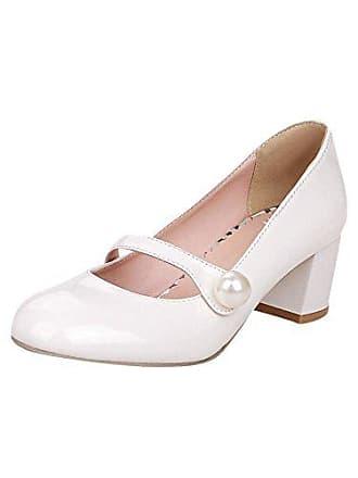 cf3473d1fd18f3 Mee Shoes Damen süß modern bequem Dicker Absatz mit falschen Perle runde  Geschlossen Blockabsatz Pumps Freizeitschuhe