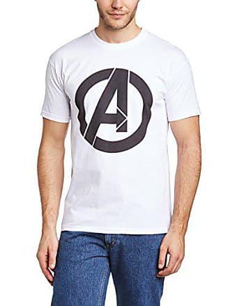 34adc4f1fd2 MARVEL Avengers Assemble Simple Logo Camiseta, Blanco, Small para Hombre