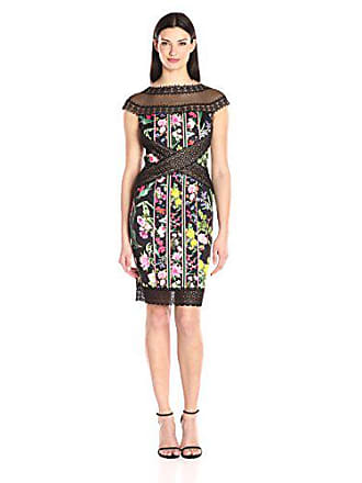 f8c5b025 Tadashi Shoji Womens Floral and Lace Cap Sleeve Dress, Black, 14. USD  $368.00