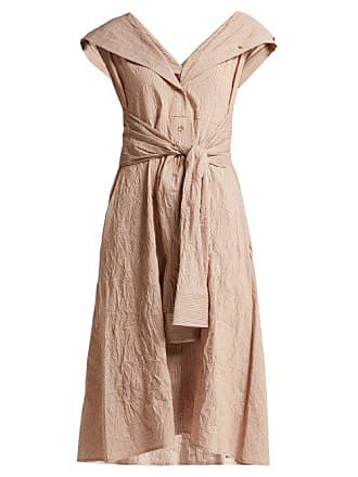 Sies Marjan Olive Striped Cotton Blend Dress - Womens - Dark Orange