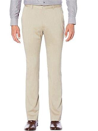 Perry Ellis Mens Heather Twill Strech Dress Pant, Natural Linen, 30W X 30L