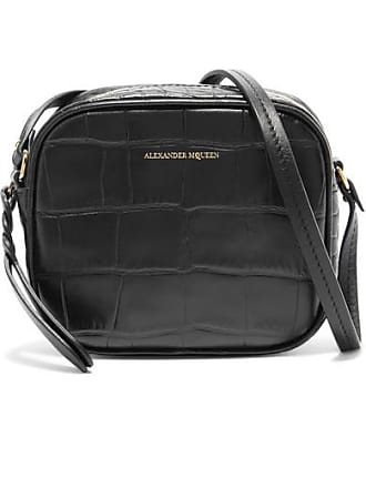 Alexander McQueen Croc-effect Leather Camera Bag - Black