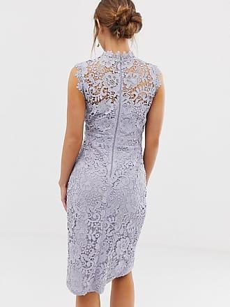 44402e045cc Paper Dolls lace wrap midi pencil dress in oyster grey - Grey