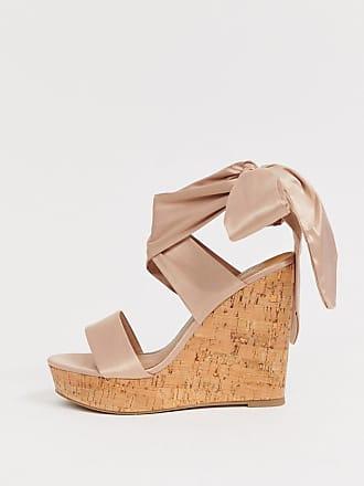 43a0ece90a65ac Asos Twist - Chaussures compensées en liège avec lien sur la jambe - Beige