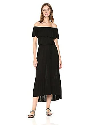 Three Dots Womens Vintage Jersey Long Loose Dress, Black, Extra Large