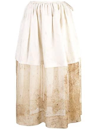 Uma Wang layered panel full skirt - White