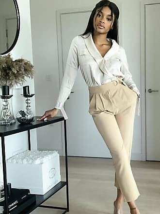 4th + Reckless Petite suit trouser with side buckle in camel-Tan