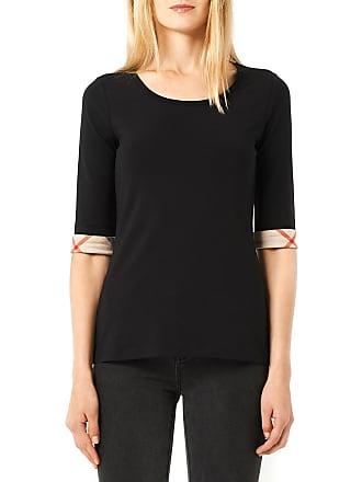 Burberry T-shirt femme manches 3 4 avec revers à motif check Noir Burberry 32da5c3160d