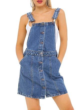 6641336a2a0 SS7 Womens Dungaree Pinafore Dress Denim Skirt Dungarees Size 8 10 12 14 16  Denim Blue