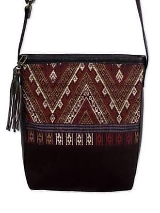 Novica Leather accent cotton shoulder bag, Northern Thai Charm