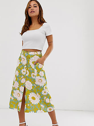 fc79eee11c45 Asos Petite ASOS DESIGN Petite button front midi skirt in vintage floral  print - Multi