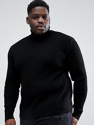 Asos Jersey de canalé negro con cuello vuelto de ASOS DESIGN Plus 89d533ebb9db