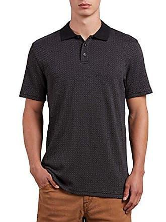 Volcom Mens Wowzer Plaid Polo Shirt, Black, XS