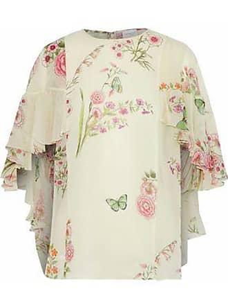 Giambattista Valli Giambattista Valli Woman Cape-effect Ruffled Floral-print Silk-georgette Blouse Ivory Size 38