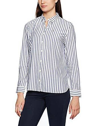 5d754d3c1d1365 Tommy Jeans Damen Stripe Langarm Regular Fit Shirt Mehrfarbig (Navy Blazer    Cl. White