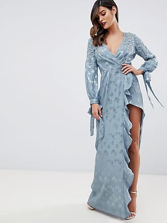 Asos maxi dress in satin with embellishment and blouson sleeve - Blue