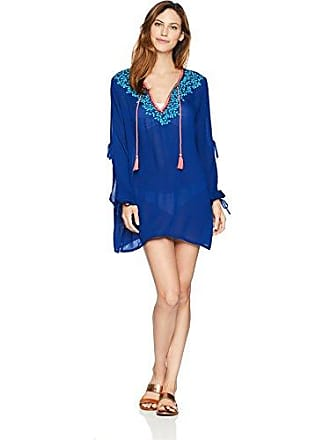 La Blanca Womens Woven V-Neck Tunic Dress, Navy/Orange/Turquoise, Extra Large