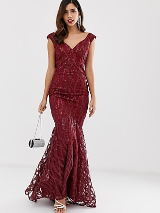 7c05e113 City Goddess all over lace and sequin fishtail maxi dress