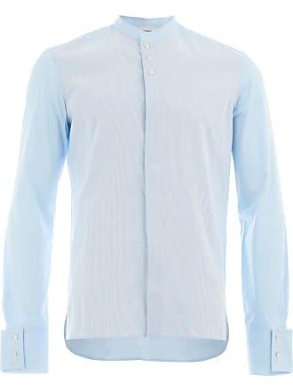 Wales Bonner Camisa listrada gola mandarim - Azul