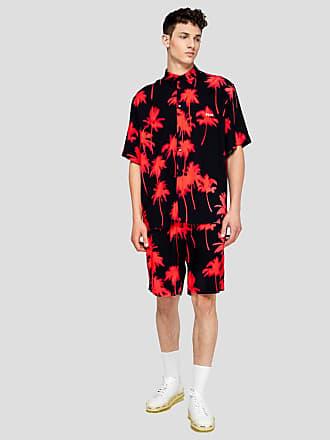 Msgm viscose palm print shorts