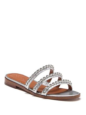 7d5385d00 Coach Isa Studded Metallic Leather Slide Sandal