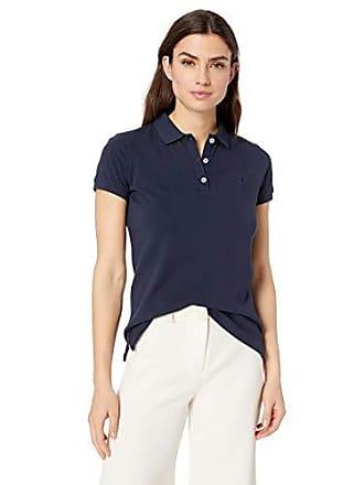9e652b4c3 Nautica Womens Short Sleeve Stretch Solid Polo Shirt, Navy seas, Large