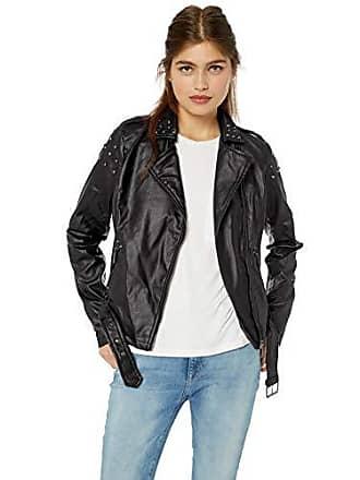 Yoki Womens Faux Leather Moto Jacket with Studs, Black XL