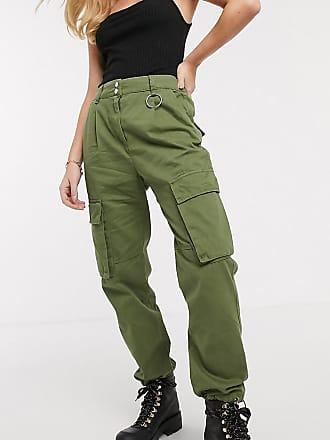 Bershka Cargo-Hose in Khaki mit Taschen-Grün