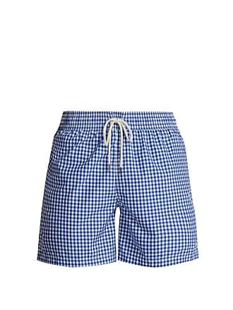 b023eed907 Polo Ralph Lauren Logo Embroidered Gingham Swim Shorts - Mens - Blue Multi