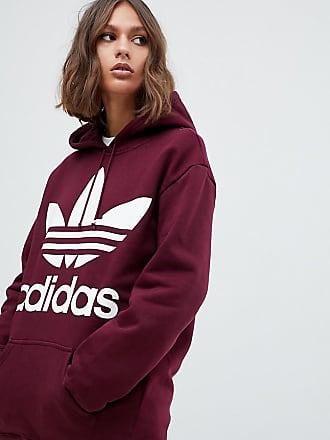 f975ed9c adidas Originals oversized trefoil logo hoody in burgundy