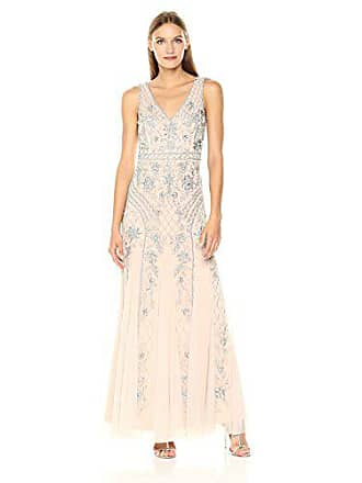 e499504f Adrianna Papell Womens Sleevless V Neck Fully Beaded Long Gown,  Silver/Nude, 10