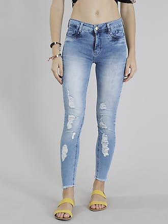 Sawary Calça Jeans Feminina Sawary Super Skinny Destroyed Azul Claro