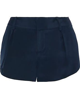 Alice & Olivia Alice + Olivia Woman Butterfly Pleated Silk-satin Shorts Navy Size 10