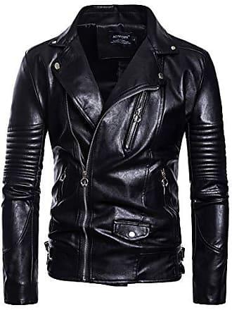 920338bb63038a Missmao Herren Bikerjacke aus schwarzem Kunstleder Klassisch Gutaussehend  Schwarz 4XL