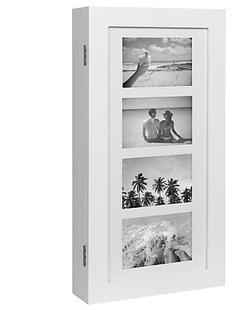 Best Choice Products Wall Mounted Jewelry Armoire Cabinet Organizer W/ 4 Picture Frames - White