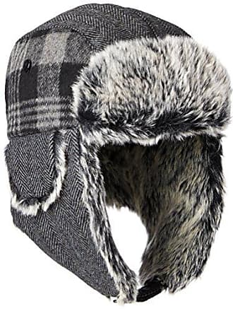 655b8dfa341 Dockers Mens Plaid and Herringbone Mixed Media Trapper Cap with Faux Fur  Lining