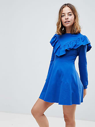 7c95c5fb5a Asos Petite Sweat Skater Dress With Ruffle Front - Blue