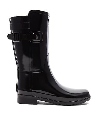 102d25d0f Hunter Original Refined Back Strap Short Gloss Boot in Black