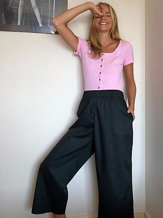 Monki Pantalones de pernera ancha de algodón orgánico en negro Vilja de Monki