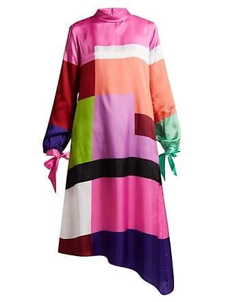 0ce3a2936372 Mary Katrantzou Leonora Colour Block Satin Twill Dress - Womens - Multi