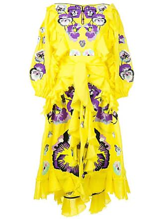 Yuliya Magdych Pansies ruffle trim dress - Yellow W/Purple