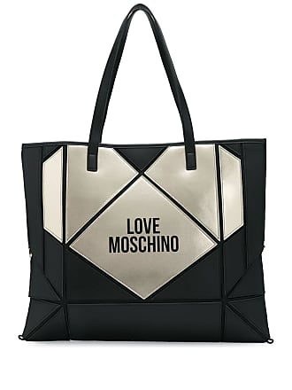 Love Moschino logo print heart tote - Preto