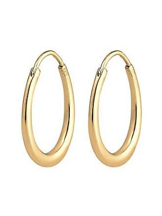 Elli Elli Damen Echtschmuck Ohrringe Creole Ohrhänger Geo Basic Trend Oval  in 925 Sterling Silber vergoldet 8154a38dd0