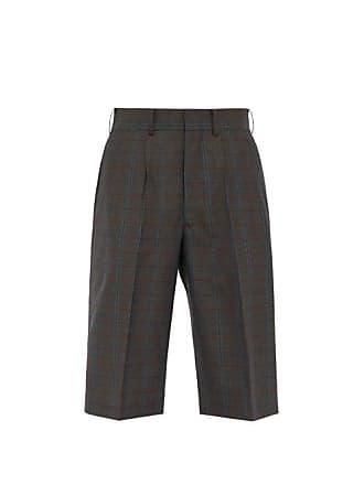 Junya Watanabe Mid Rise Tailored Check Wool Shorts - Mens - Khaki Multi