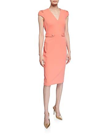 Iconic American Designer Waist-Tab V-Neck Sheath Dress