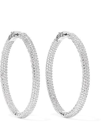 Kenneth Jay Lane Rhodium-plated Crystal Hoop Earrings - Silver