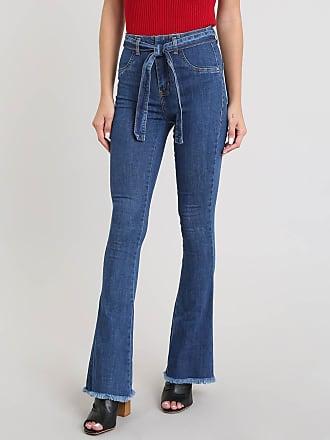 Sawary Calça Jeans Feminina Sawary Flare com Barra Desfiada e Cinto Azul Médio