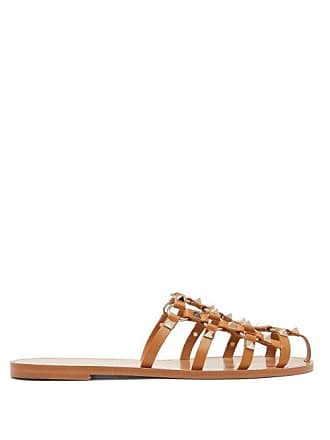 Valentino Rockstud Cage Leather Mules - Womens - Tan