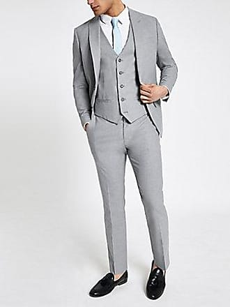 River Island Mens Grey textured slim fit suit pants