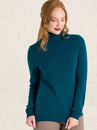 86e716f93fdff WoolOvers Womens Cashmere and Merino Polo Neck Jumper Dark Turquoise